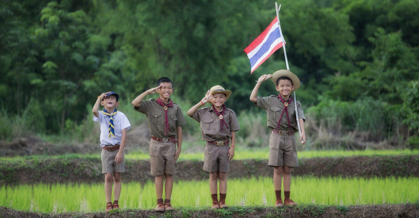 Vier scoutingjongens