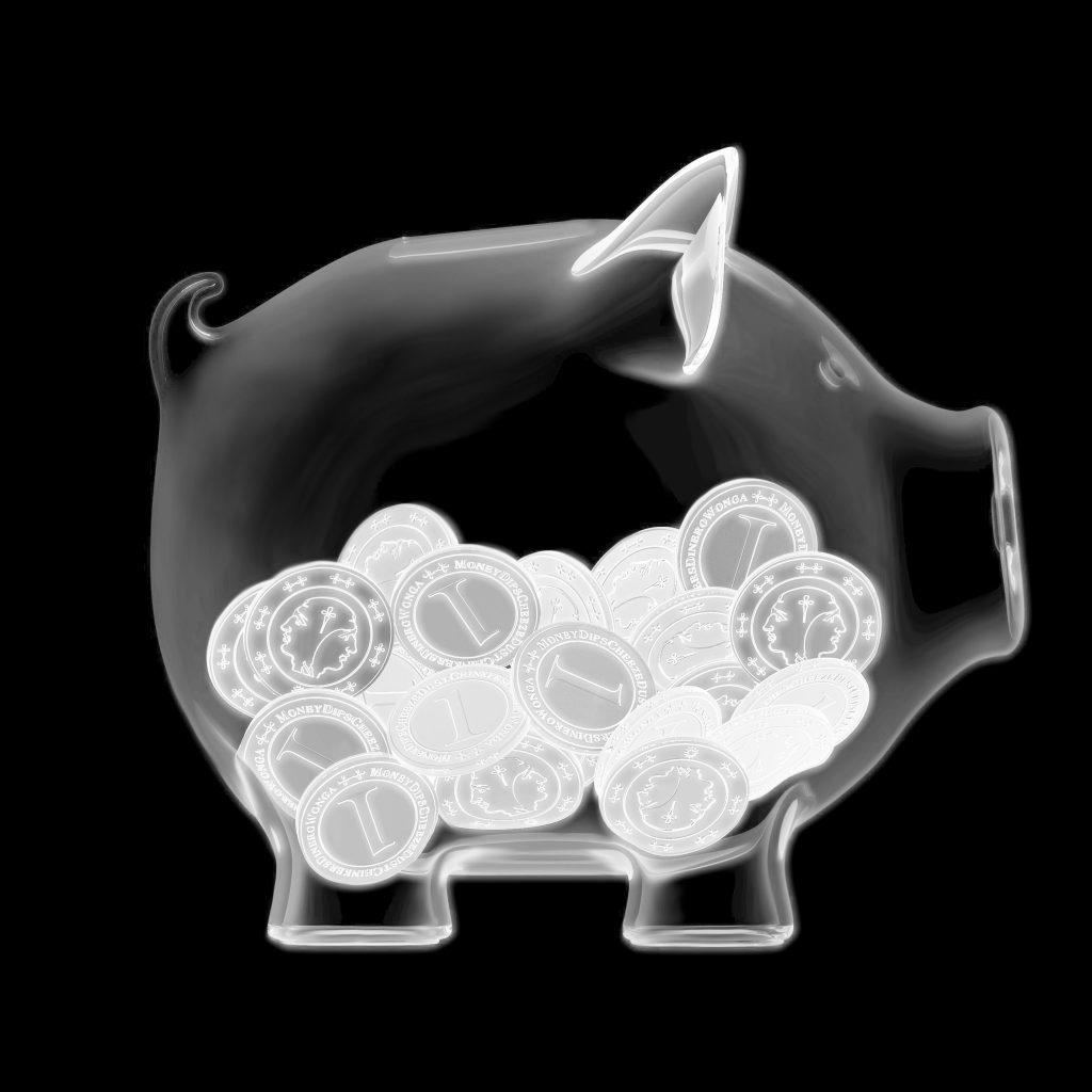 Röntgenfoto van spaarpot